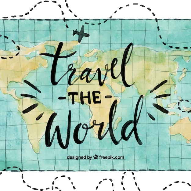 Water color travel the world background Premium Vector