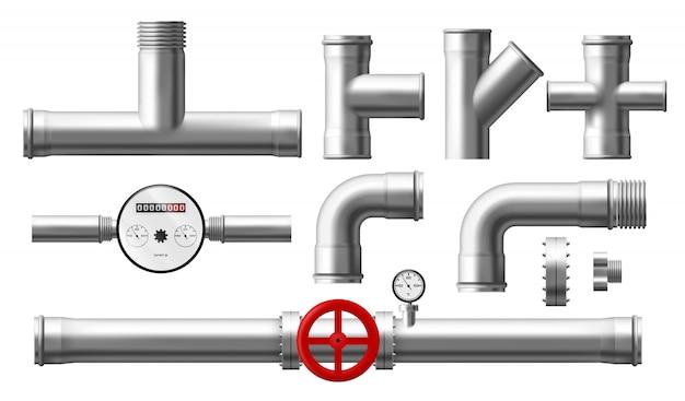 Water counter, pressure regulator, metallic pipes Free Vector