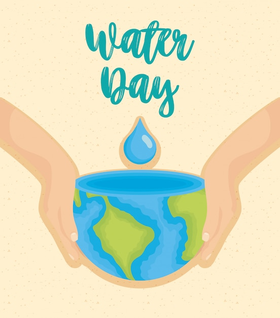 Water day illustration with world planet earth Premium Vector