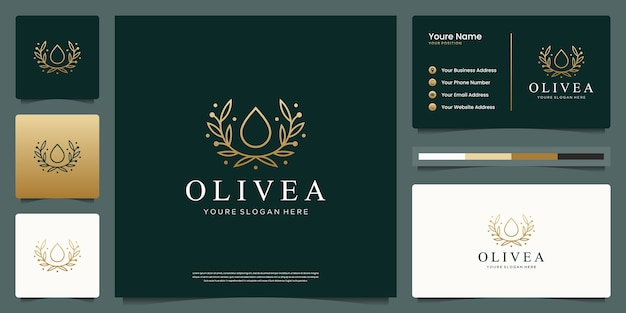 Water drop and branch tree line art style. luxury logo and business card design. Premium Vector