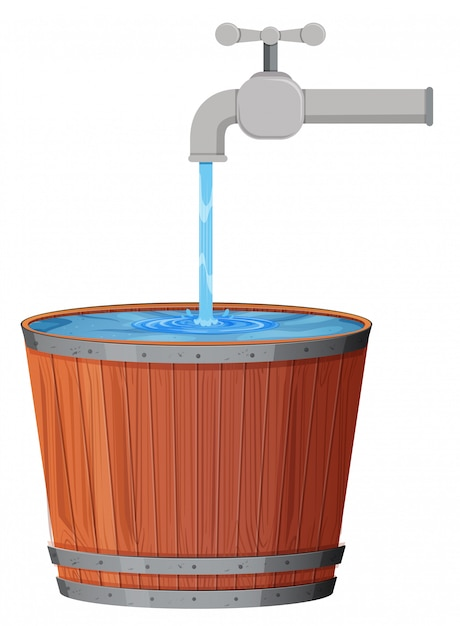 A water drop in bucket Free Vector