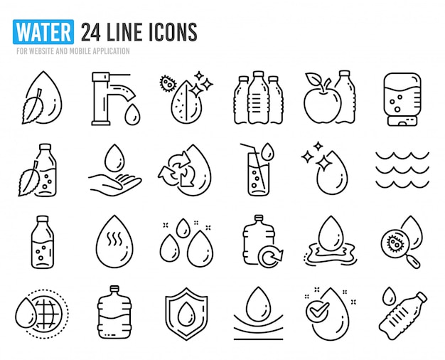 Water drop line icons. set of bottle, antibacterial filter and tap water. Premium Vector