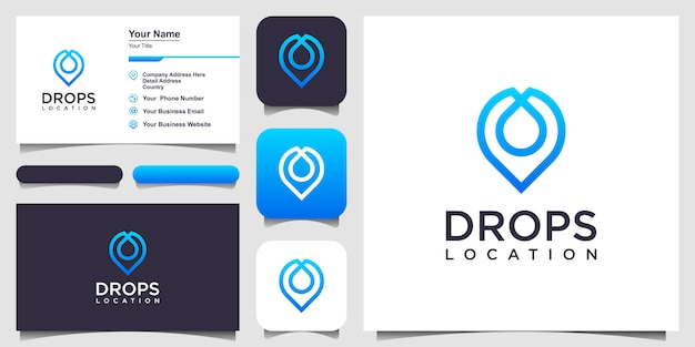 Water drop location pin line icon. linear style sign .  logo design and business card Premium Vector