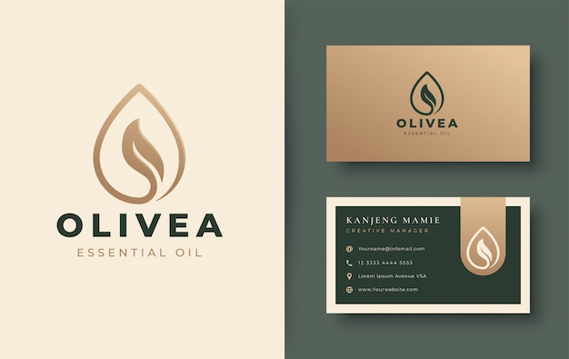 Water drop / olive oil logo and business card design Premium Vector