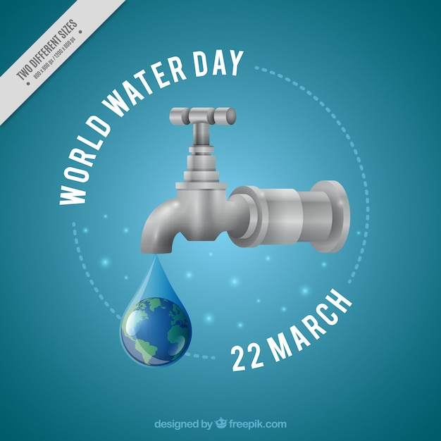 Water drop tap background in realistic style Free Vector