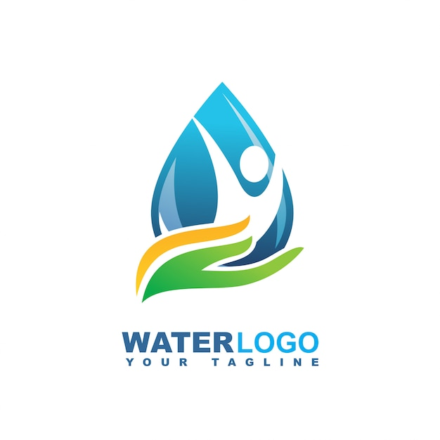 Water drop vector logo with green leaf and hand Premium Vector