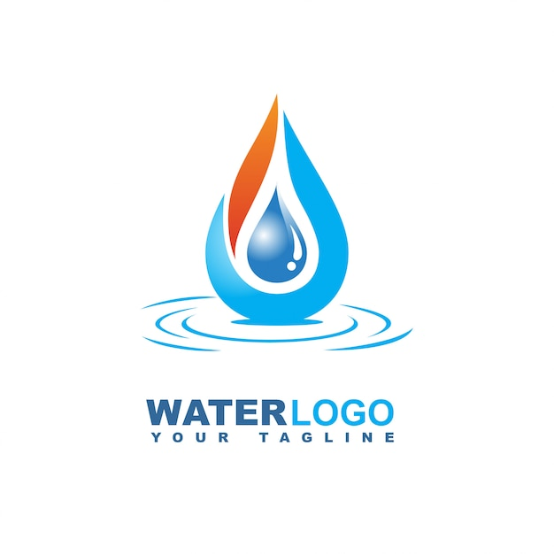 Water drop vector logo with leaf and hand Premium Vector