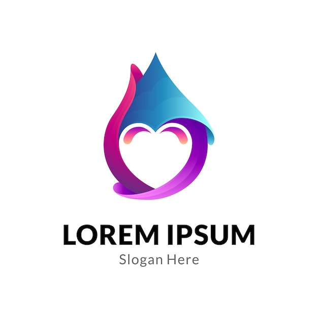 Water drop with heart logo concept Premium Vector