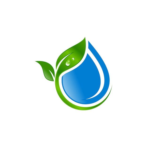 Water drop with leaf logo vector Premium Vector