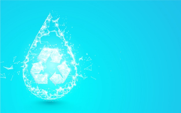 Water drop with recycle symbol from lines, triangles and particle style design. illustration vector Premium Vector