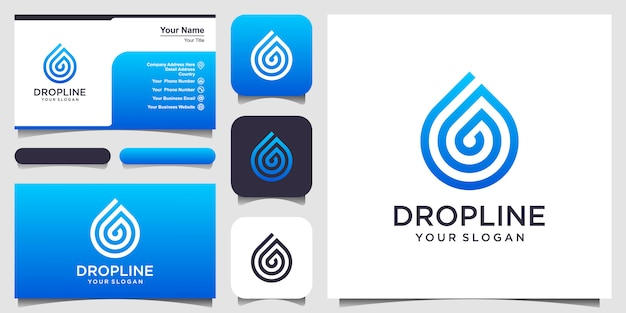 Water droplet with line art style logo and business card Premium Vector