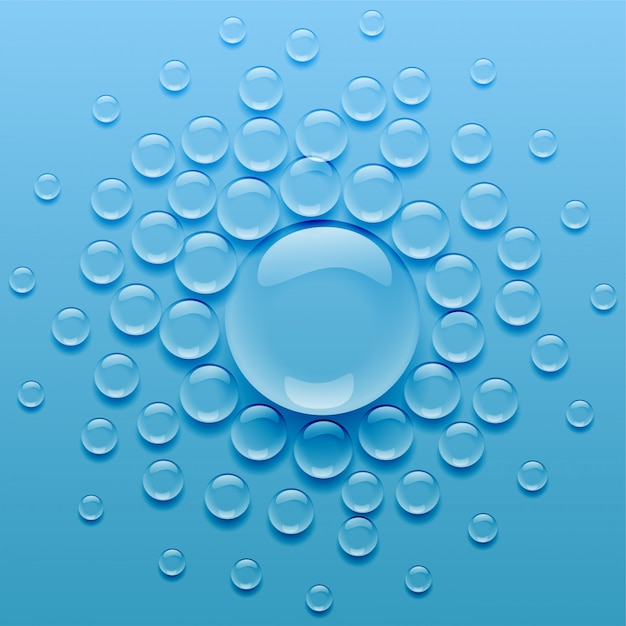 Water droplets on blue background Free Vector