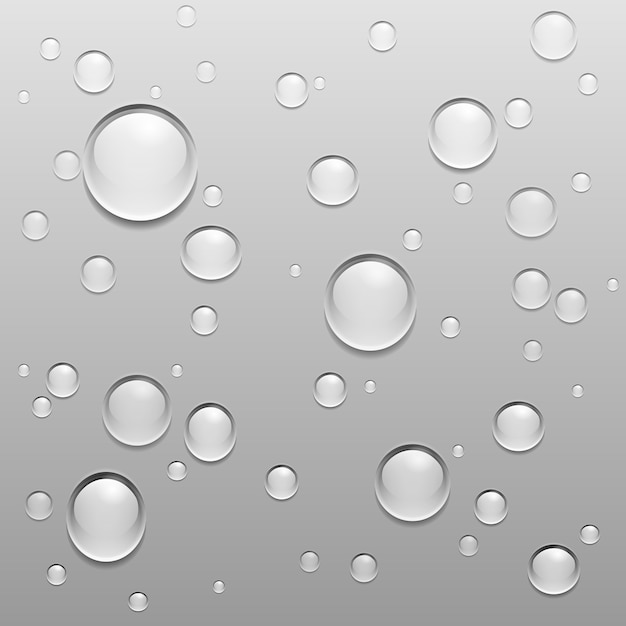 Water drops on gray surface Free Vector