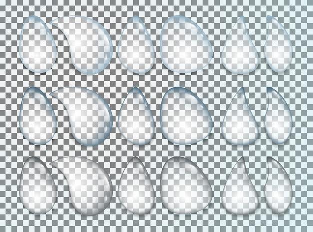 Капли воды реалистичный набор, изолированные на прозрачный Premium векторы