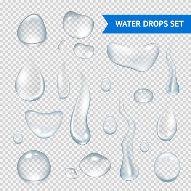 Water drops realistic Free Vector