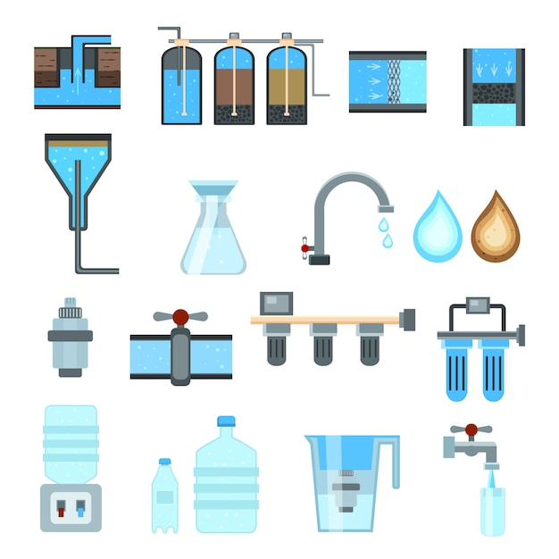 Water filtration icon set Free Vector