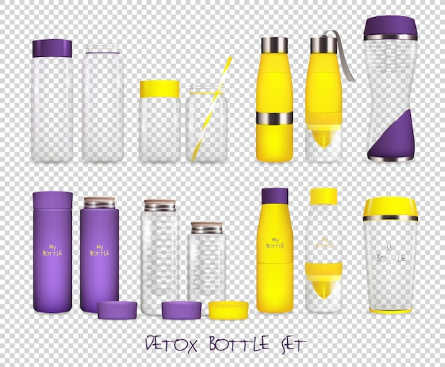 Water flask transparent set Free Vector