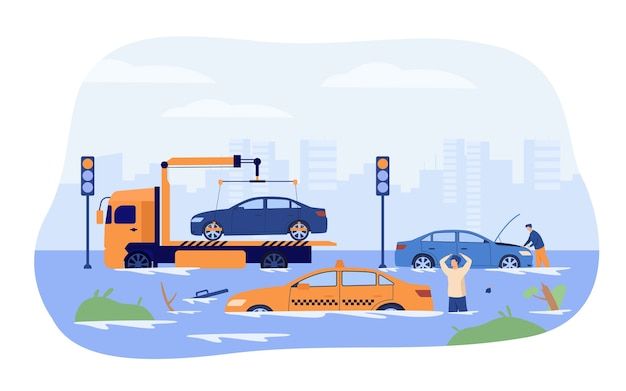 Наводнение на городских дорогах. водители и эвакуатор спасают поврежденные автомобили от сильного дождя и шторма. векторная иллюстрация сезона дождей, период дождя, концепция стихийных бедствий Бесплатные векторы