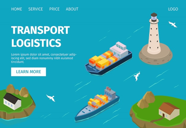 Water freight transport logistics  illustration website, container ships in port. Premium Vector