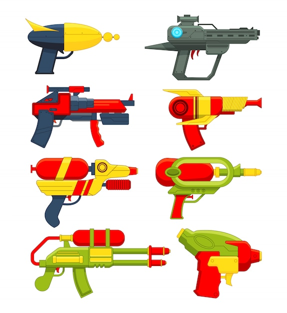 Water guns. weapons toys for childrens Premium Vector