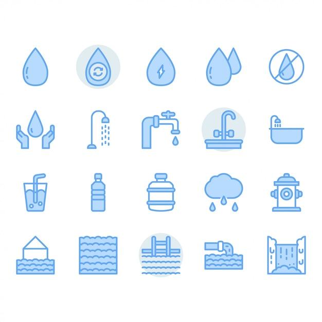 Water icon set Premium Vector