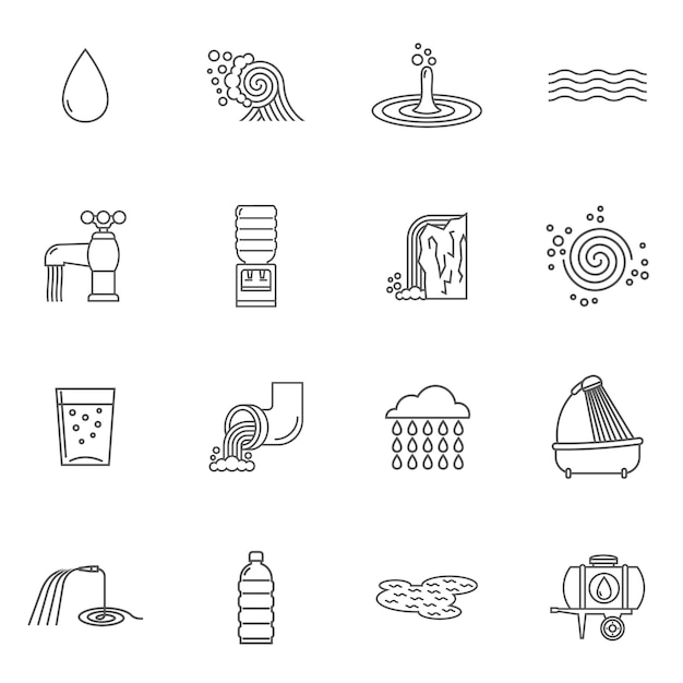 Water icons line Free Vector