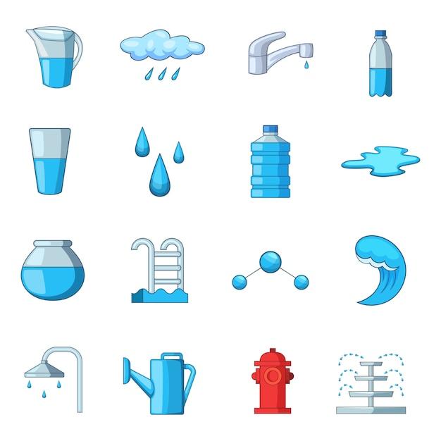 Water icons set Premium Vector