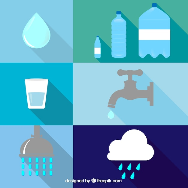 Water icons Free Vector