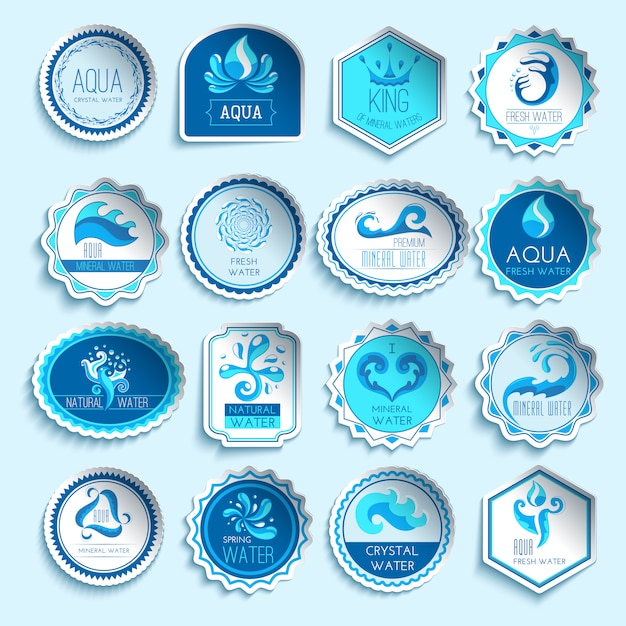 Water labels set Free Vector