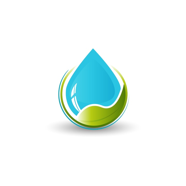 Water and leaf logo Premium Vector
