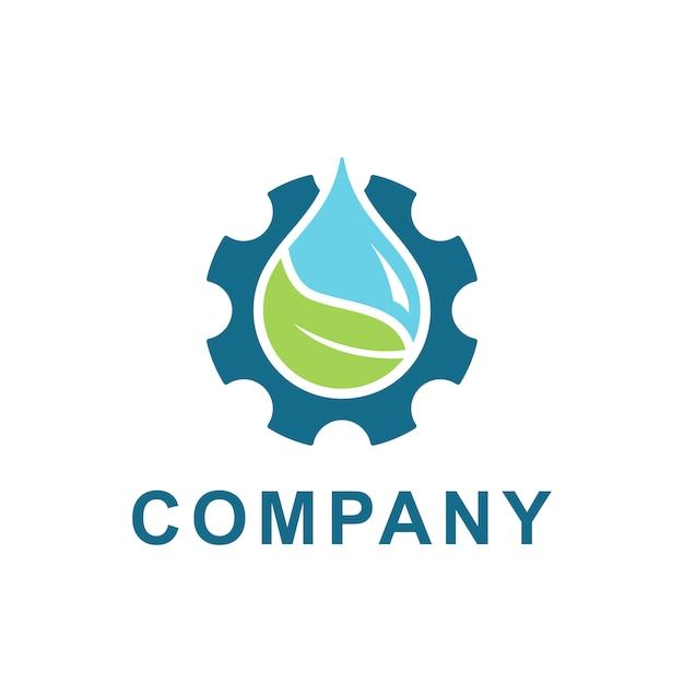 Water, leaf with gear logo design vector. illustration of fresh water and gear cog for energy ecology and industrial company Premium Vector