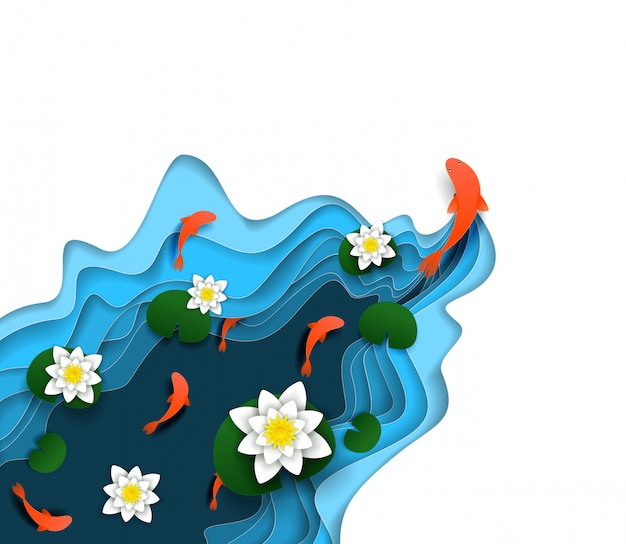 Water lily, koi carp vector paper cut illustration Premium Vector