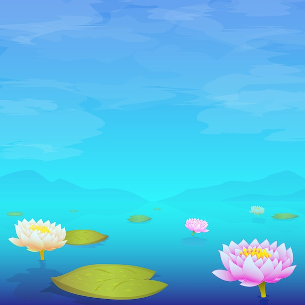 Water lily pads floating in lake Premium Vector