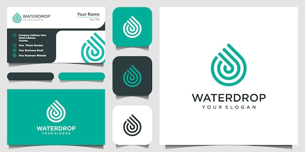 Water line  . droplet with line art style for mobile concept and web . business card design Premium Vector