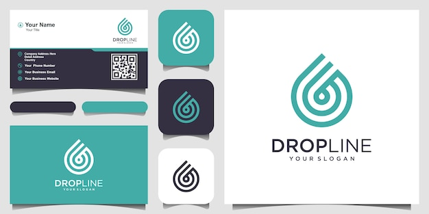 Water line logo . droplet with line art style for mobile concept and web design. business card design Premium Vector