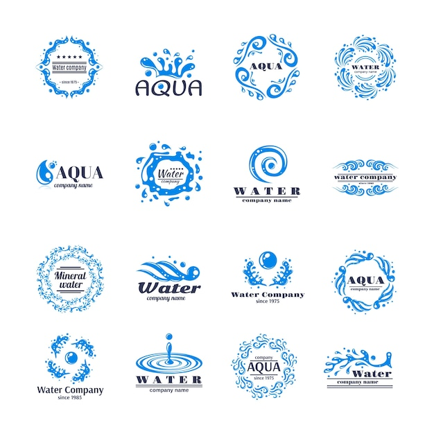 Water logo set Free Vector