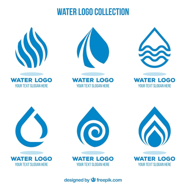 Water logos collection for companies in flat style Free Vector
