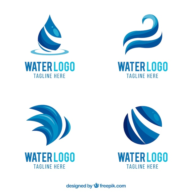 Water logos collection for companies in flat\ style