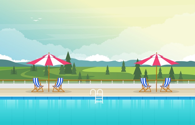 Water outdoor swimming pool hotel nature relax view illustration Premium Vector