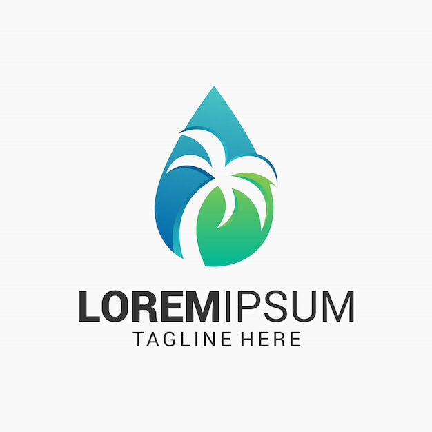 Water and palm tree logo design template Premium Vector