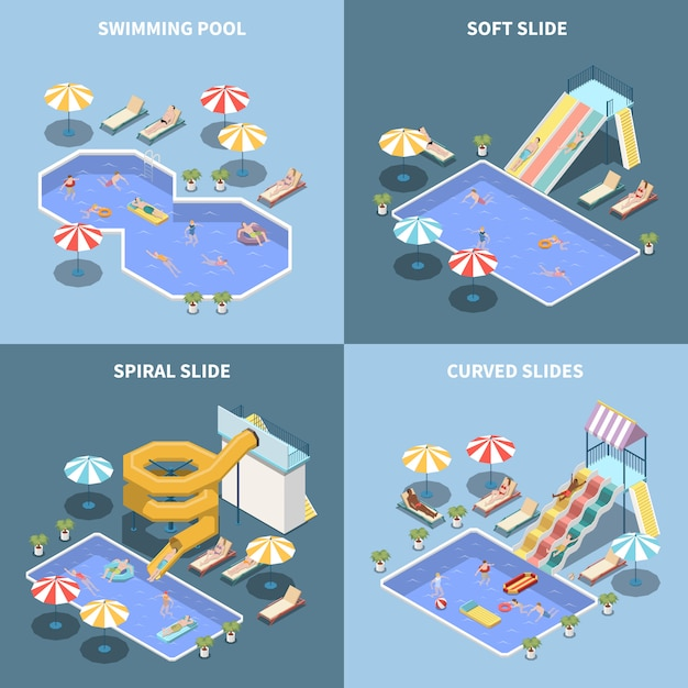 Water park aquapark isometric 2x2 design concept with images of water attractions and aqua park areas Free Vector