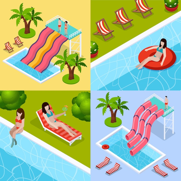 Water park aquapark isometric icon set Free Vector