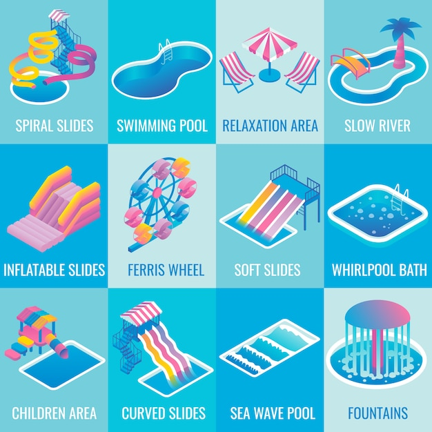 Water park attractions flat isometric icon set Premium Vector