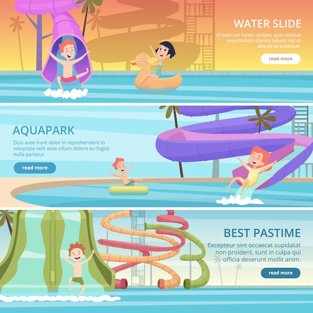 水公園のバナー。ウォータースライドとゴム製の城のベクトルの漫画の写真とプールの遊び場で子供のためのアクアゲーム面白い喜び Premiumベクター