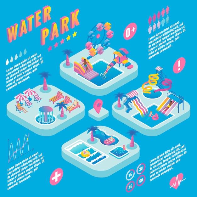 Water park isometric infographic Premium Vector