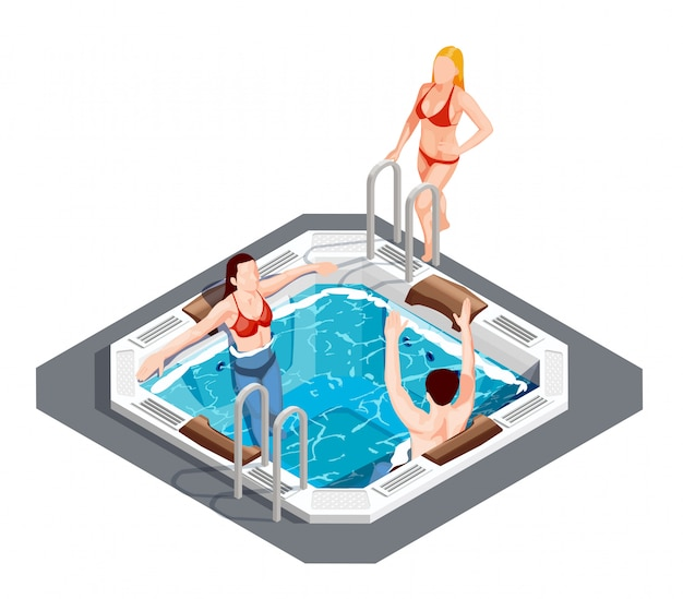 Water park isometric set Free Vector