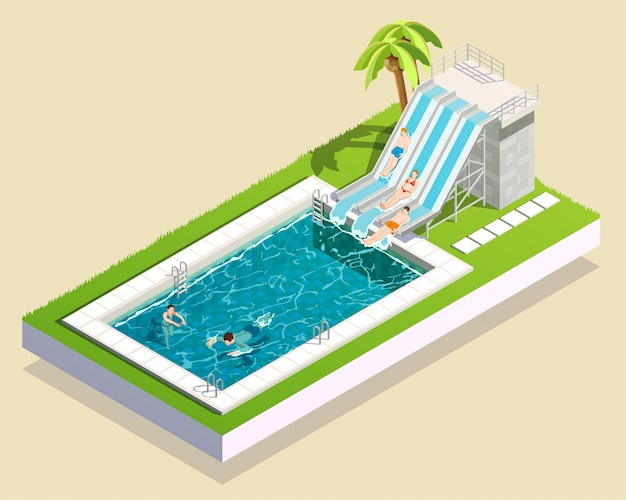 Water park pool composition Free Vector