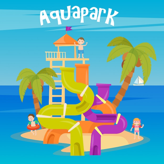 Water park. summer vacation. fun aquapark. water hills. vector illustration Premium Vector