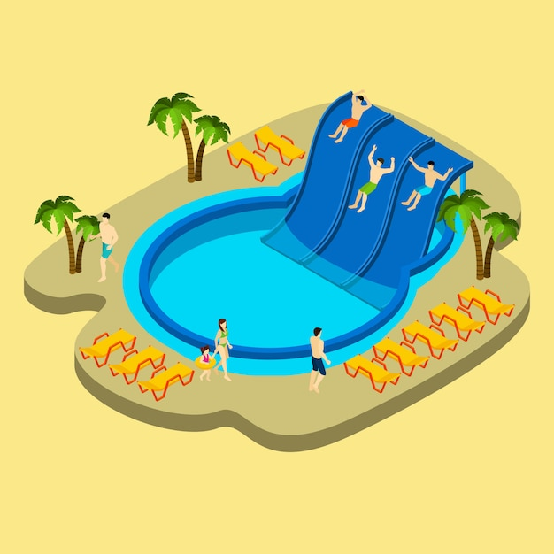 Water park and swimming illustration Free Vector