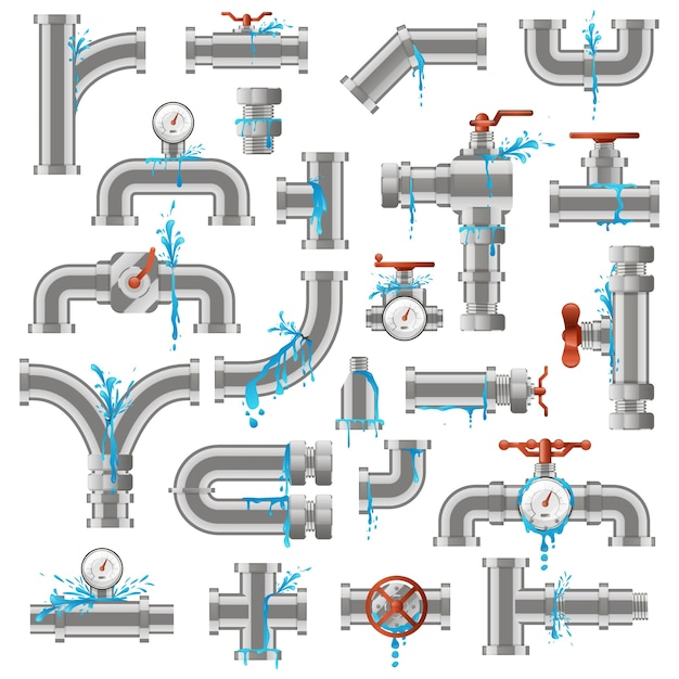 Water pipe leak. broken damaged metal pipes, pipe leaky crack, industry metal tube pipes damage  illustration icons set. pipeline supply, leaking piping, damaged and leakage Premium Vector